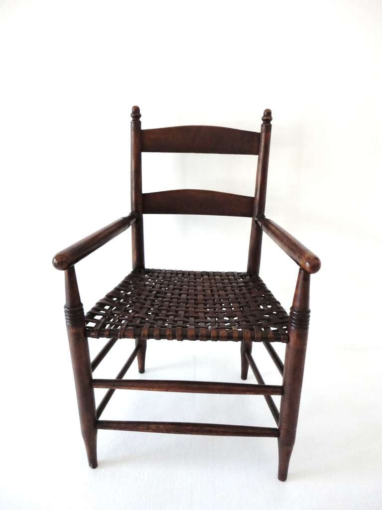 19th c Original Natural Surface Armchair with Woven