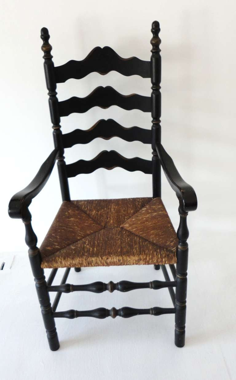 19th C Original Black Painted Ladder Back Armchair From