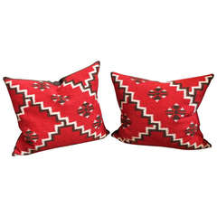 Pair of Amazing Geometric Indian Weaving Pillows