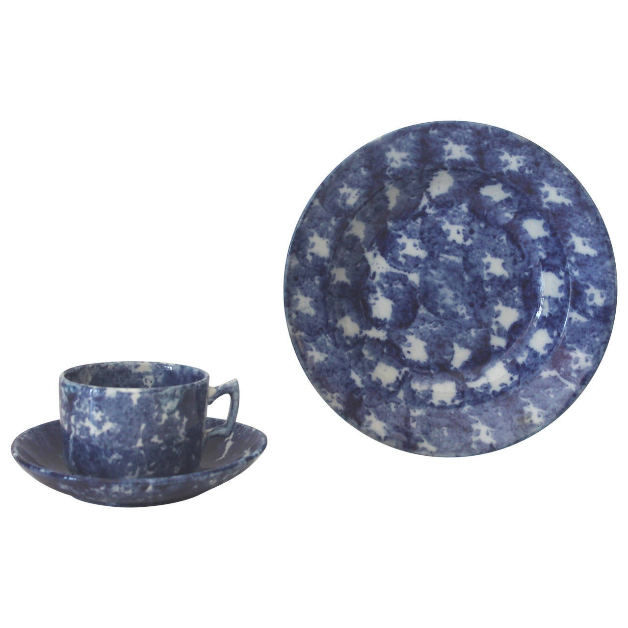 19th Century Spongeware Soup Bowl and Cup and Saucer