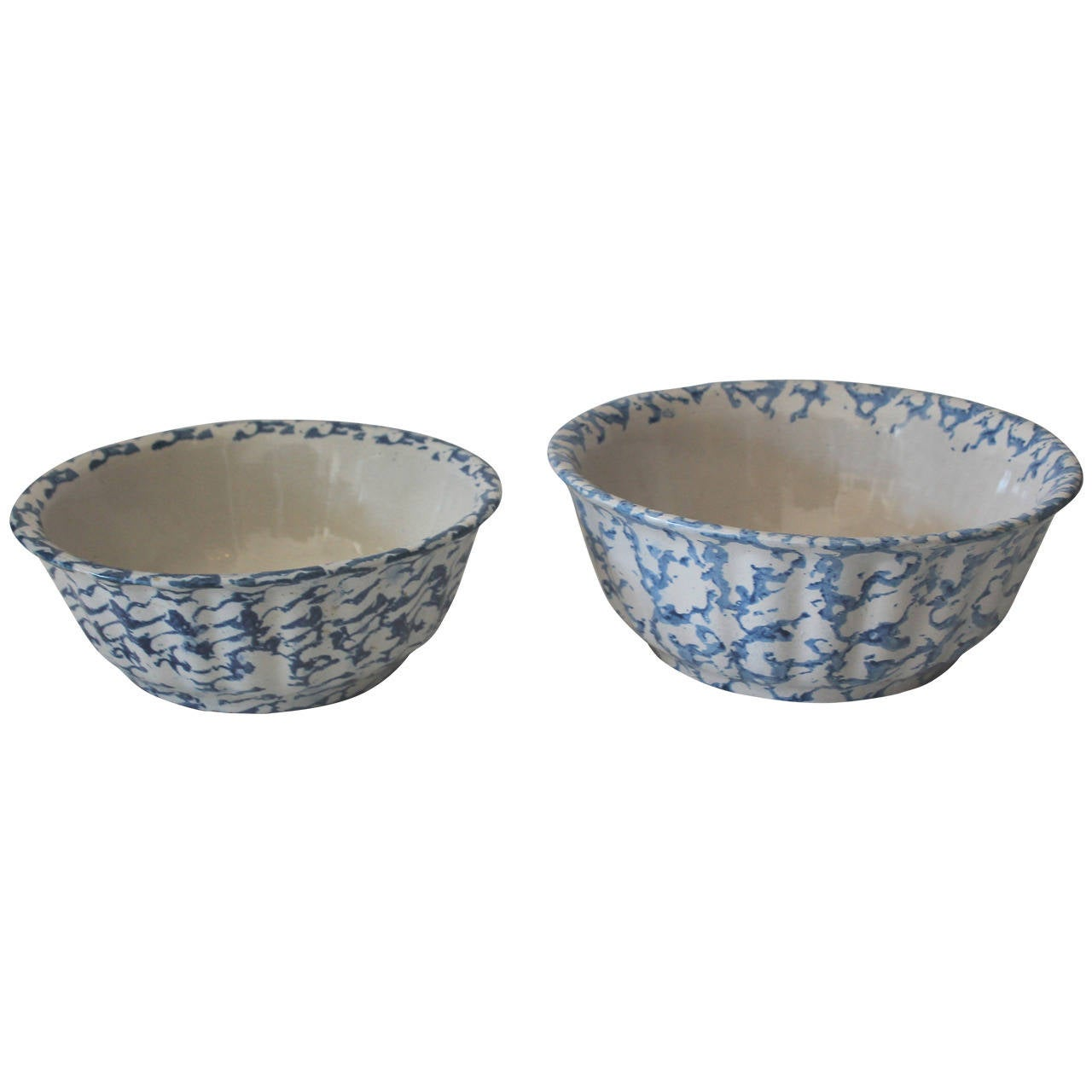 Pair of Large 19th Century Spongeware Pottery Serving Bowls