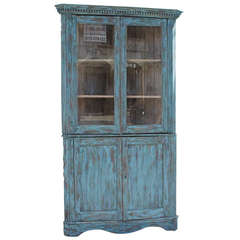 19th Century Blue Painted Two Piece Corner Cupboard