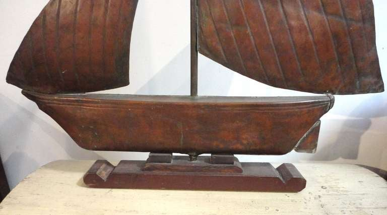 Wooden and tin folk art sculpture of a rooster is no longer available - Fantastic 19th Century Handmade Sailboat Weathervane On