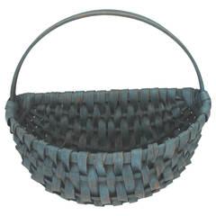 19th Century Original Robin Egg Blue Painted Half Basket