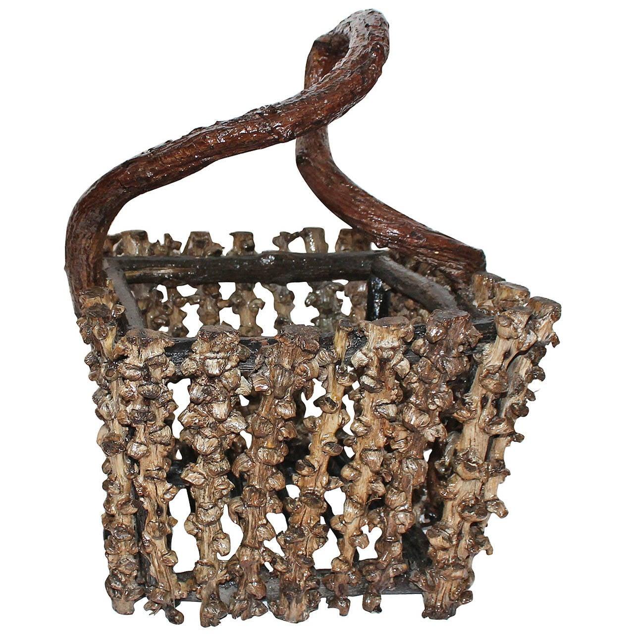 Rustic Grapevine Root Basket