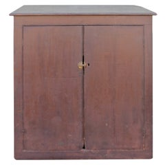 19th Century Wall Cabinet in Original Painted Brown Surface