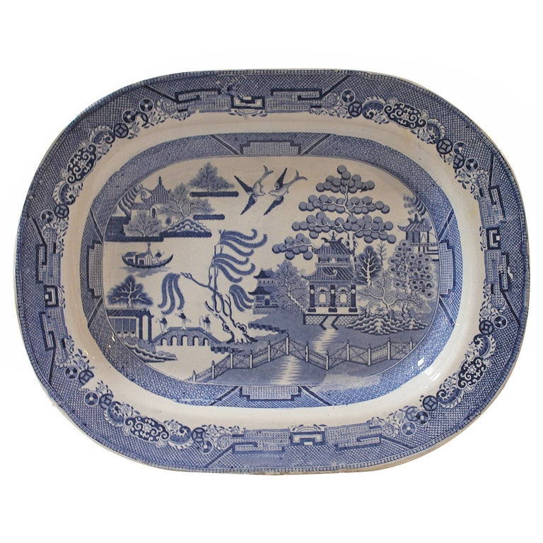 Early 19th Century Monumental English Blue Willow Turkey Platter For Sale