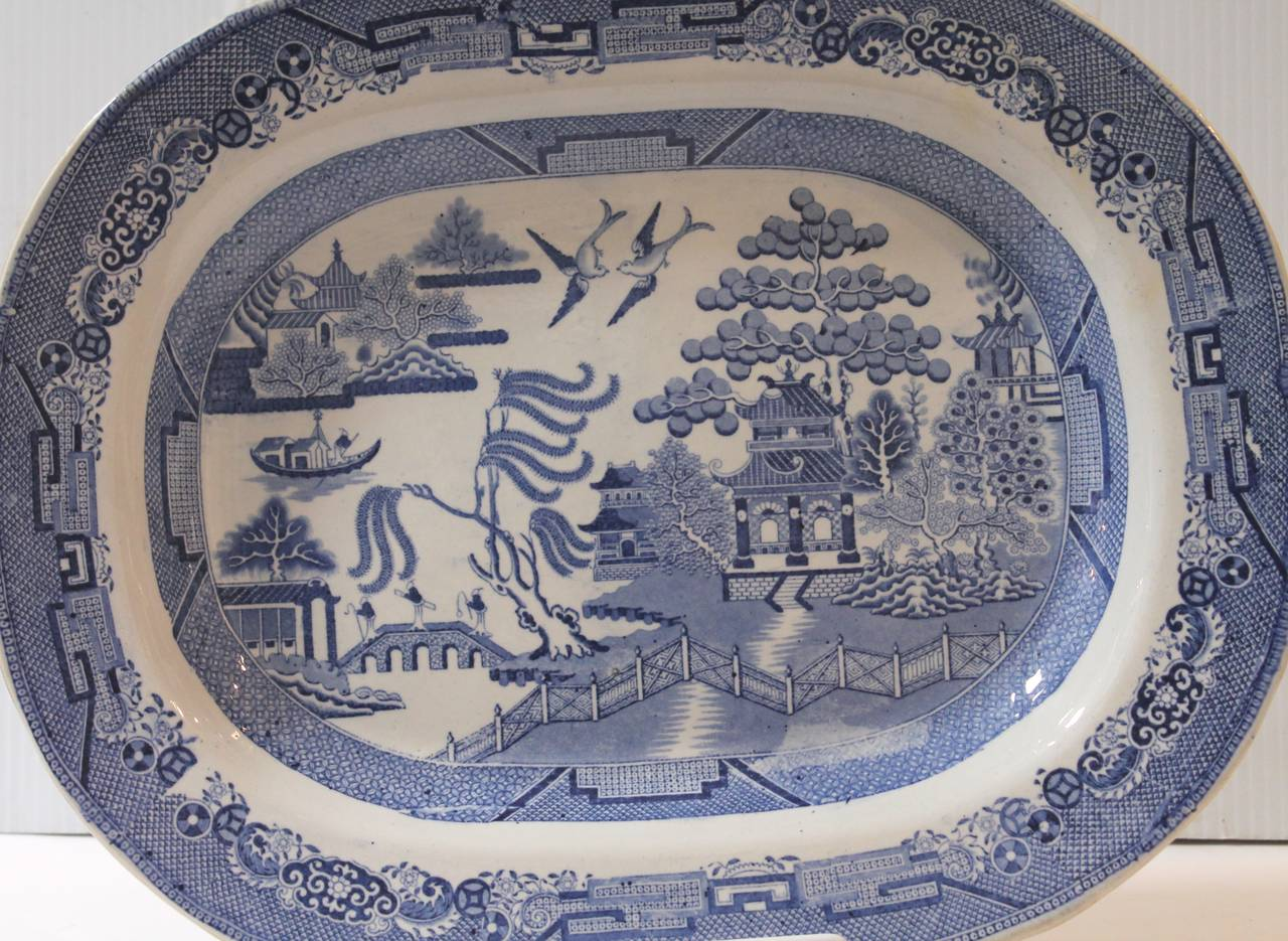 American Classical Early 19th Century Monumental English Blue Willow Turkey Platter For Sale