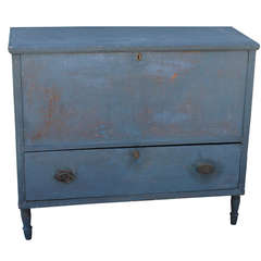 19th Century New England Original Blue Painted Tall Blanket Chest