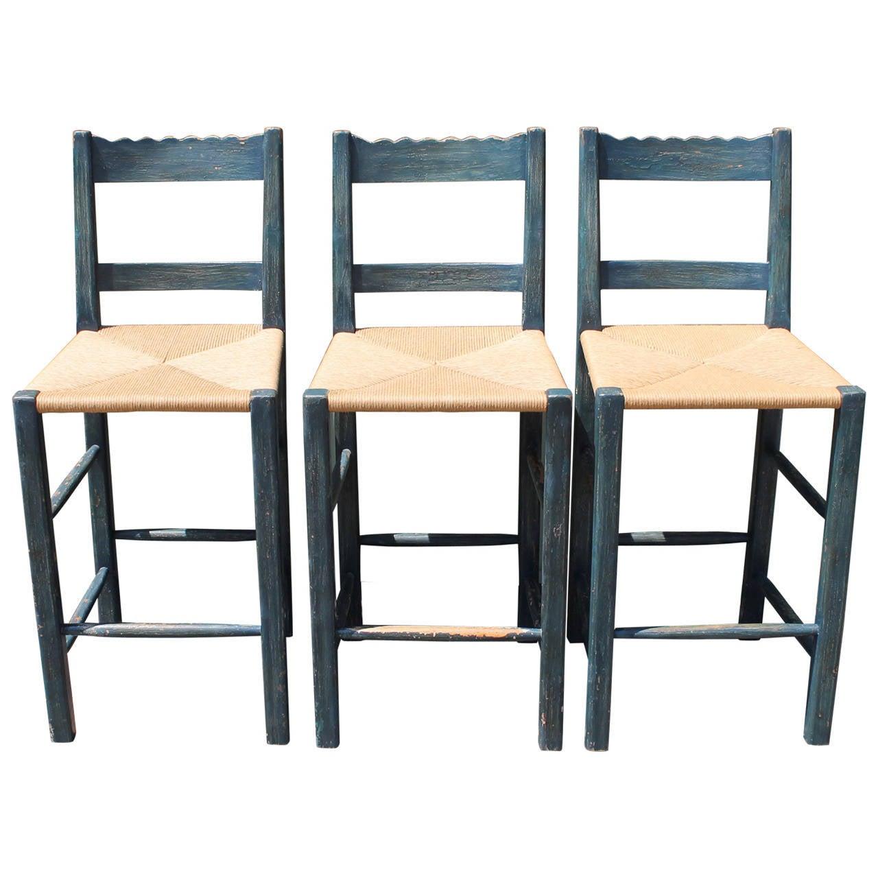 Set of three painted bar stools, 1930s