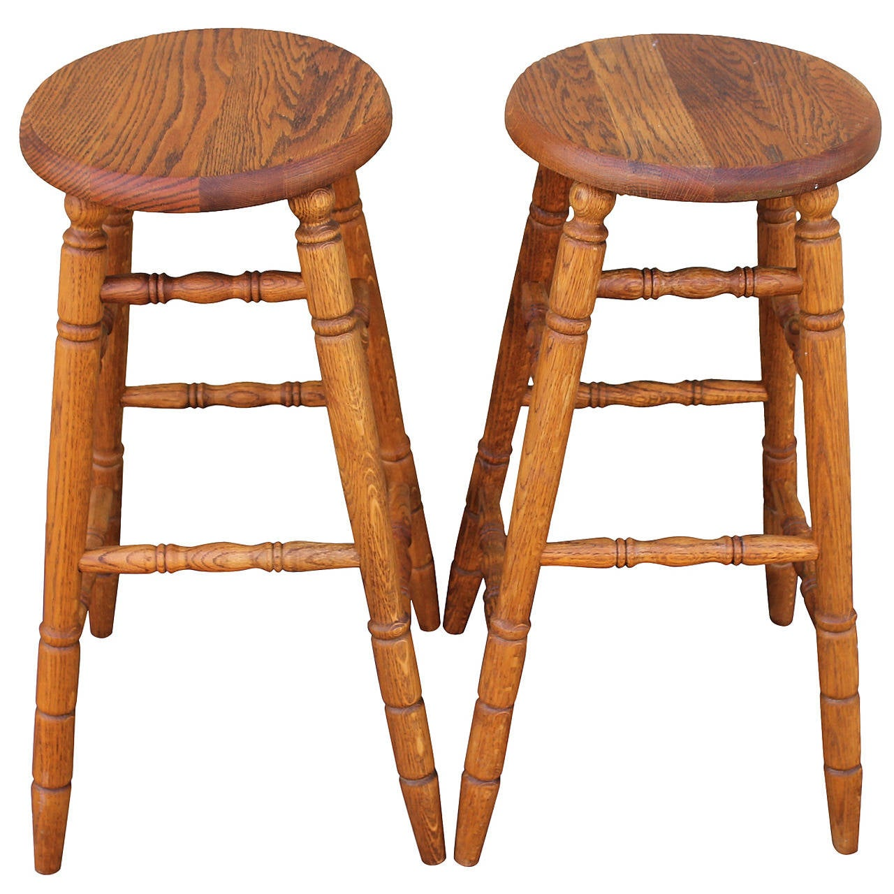 Pair of Natural Patina Bar Stools