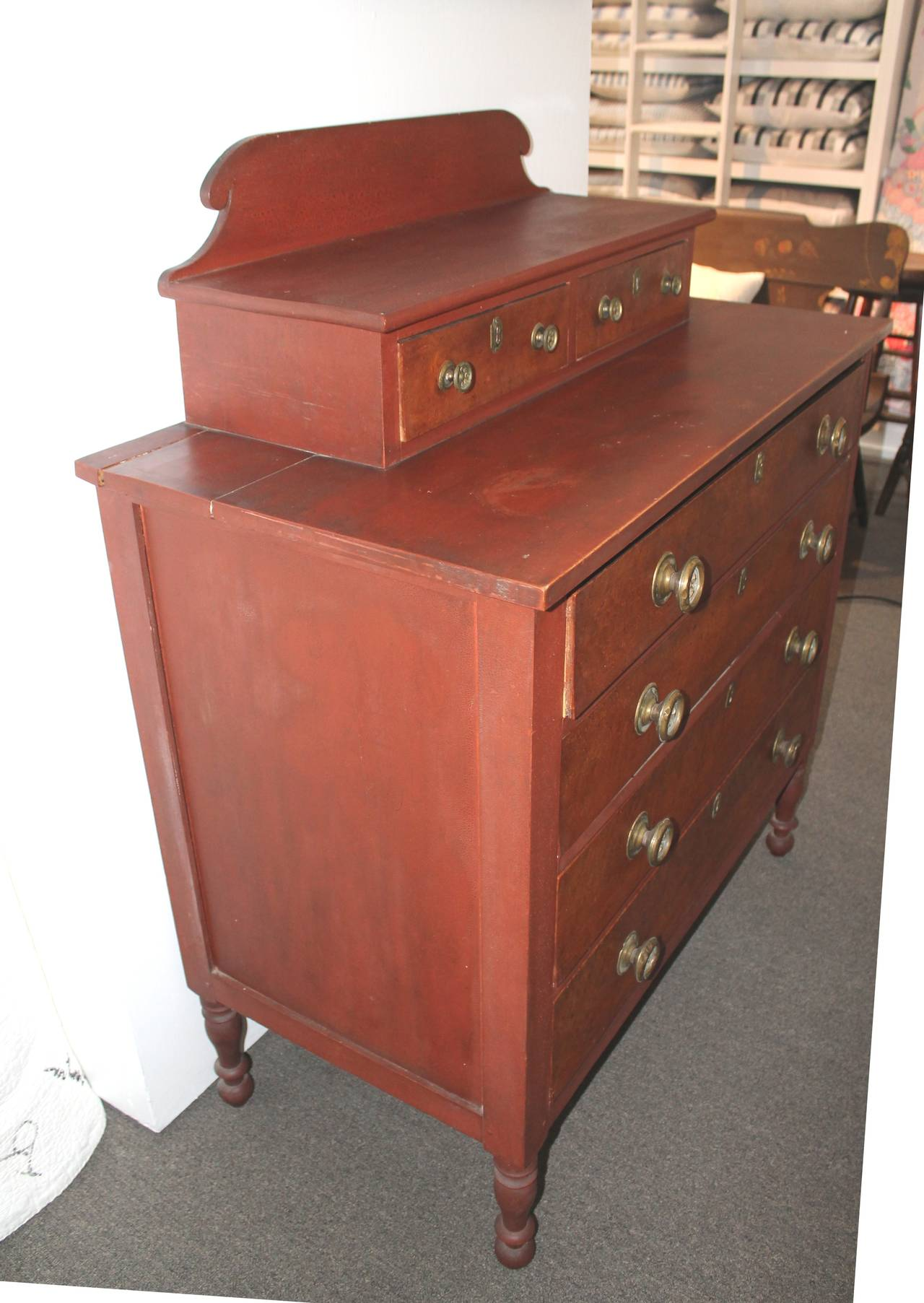 Early 19th Century Red Painted and Bird's-Eye Maple Chest of Drawers from Maine 3