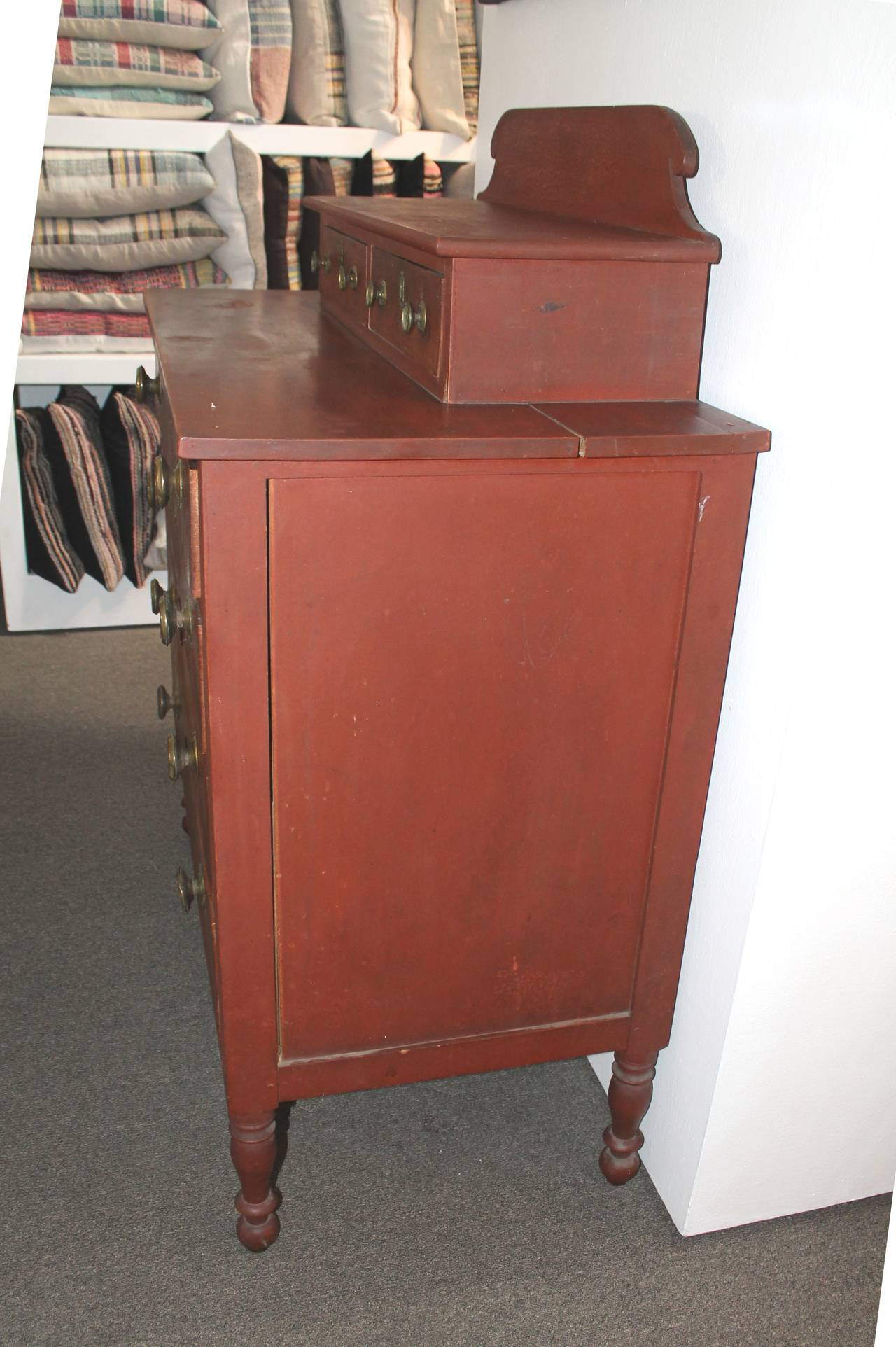 Early 19th Century Red Painted and Bird's-Eye Maple Chest of Drawers from Maine 5