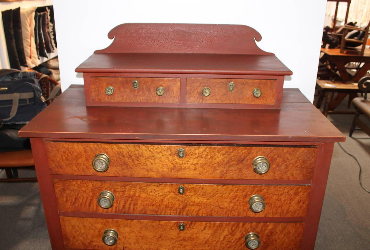 Early 19th Century Red Painted and Bird's-Eye Maple Chest of Drawers from Maine 6