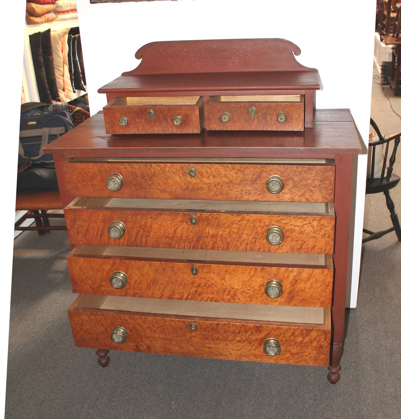 Early 19th Century Red Painted and Bird's-Eye Maple Chest of Drawers from Maine 7