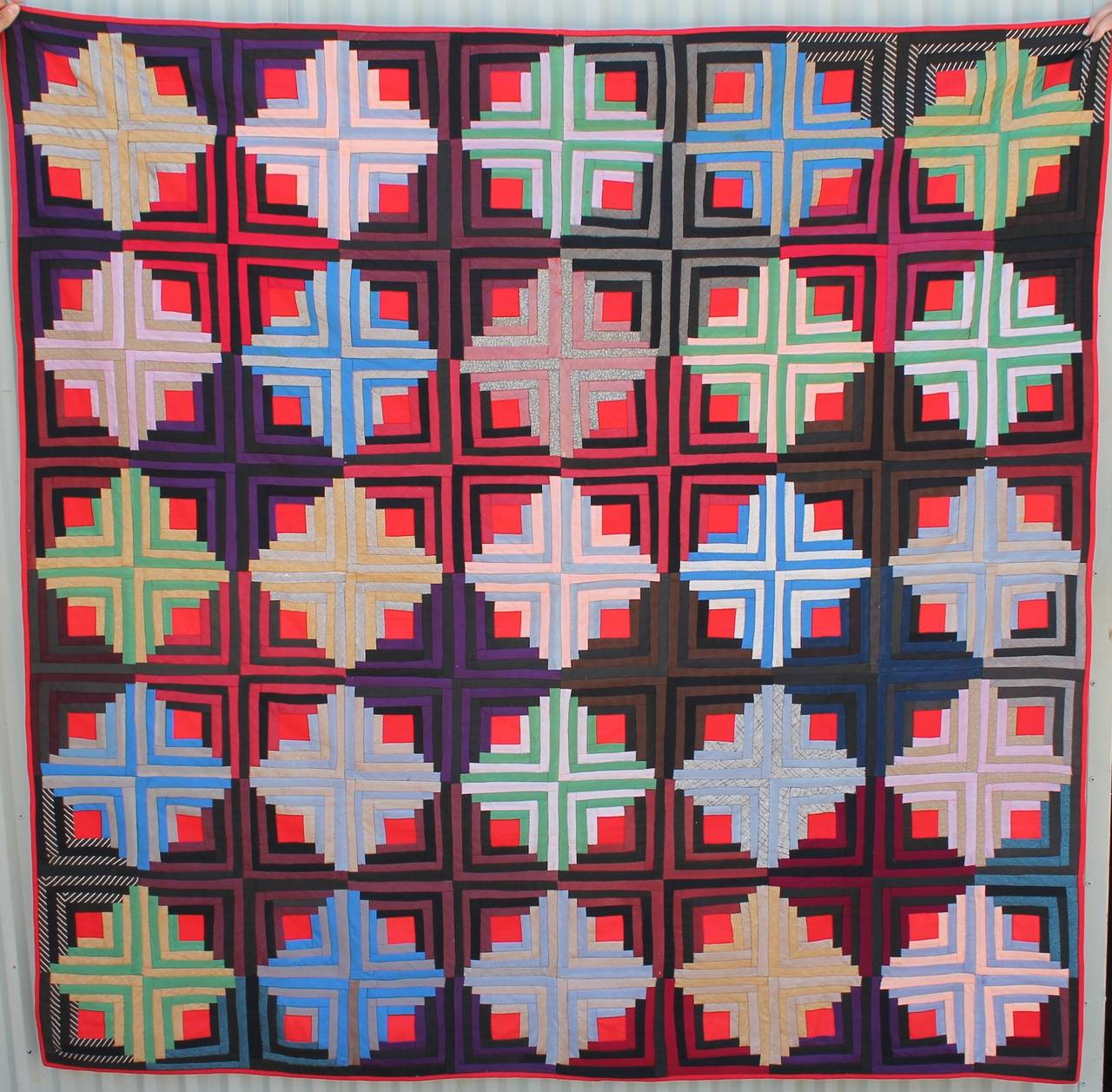 Amazing photo of Early 19th C Wool Log Cabin Quilt from Pennsylvania at 1stdibs with #B51624 color and 1280x1257 pixels