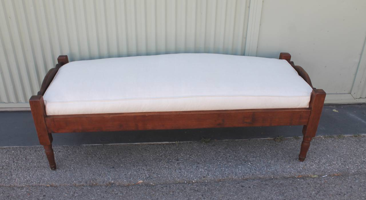 19th century daybed with a custom made linen cushion at for Raw wood bed frame