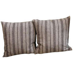 Late 19th Century Brown and Tan Wool Striped Pillows