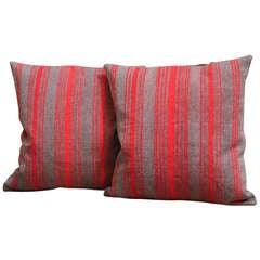 Pair of Late 19th Century Brown and Red Striped Pillows