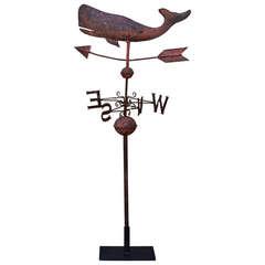19th Century Original Salmon Painted Whale Weather Vane