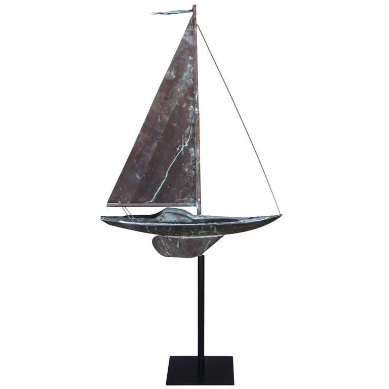 19th c. New England Folk Art Copper Sailboat Weather Vane