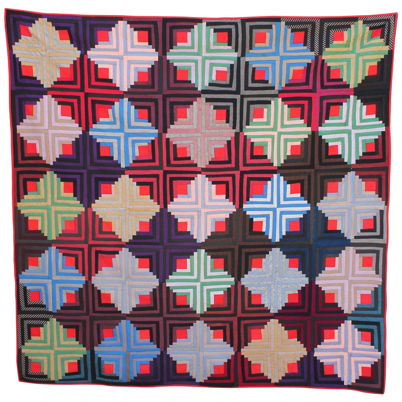 Early 19th C Wool Log Cabin Quilt From Pennsylvania At 1stdibs