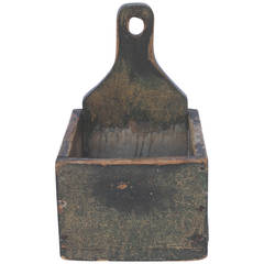 19th Century Original Mustard over Green Painted Salt Box
