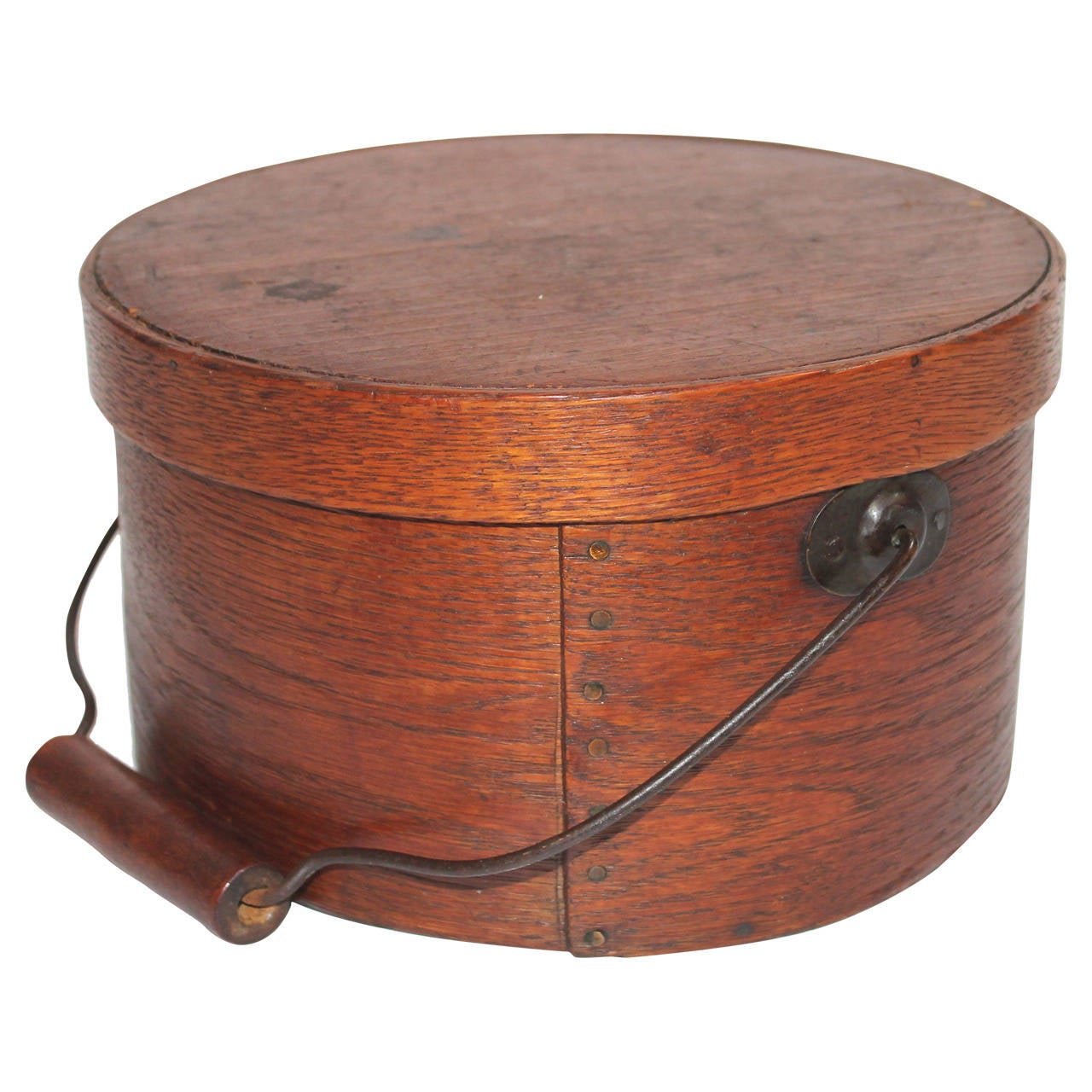 Pantry Boxes For Sale: 19th Century Natural Surface Bail Handled Pantry Box For