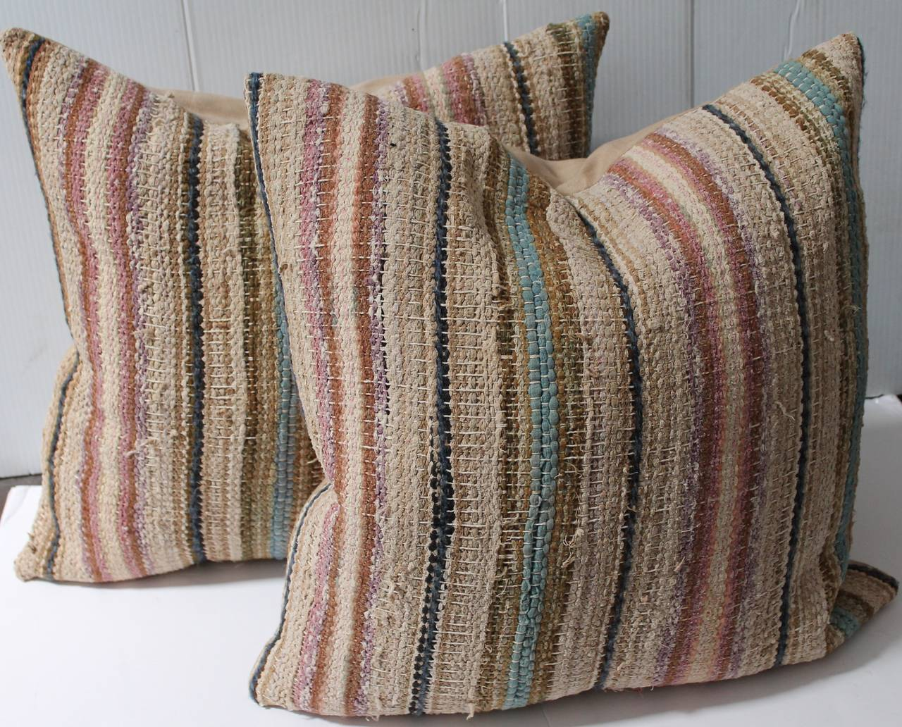 19th Century Country Rag Rug Pillows or Pair 2