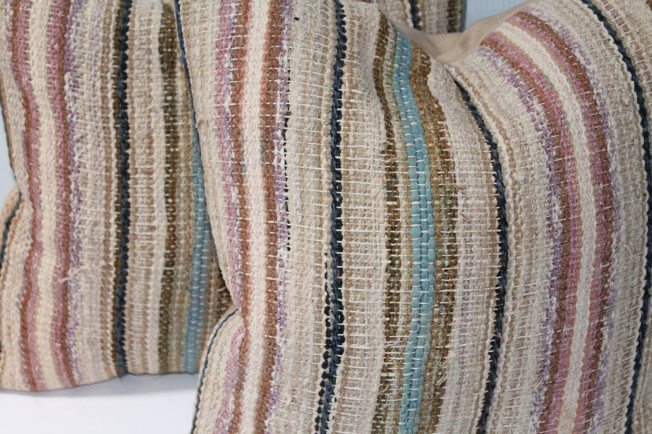 19th Century Country Rag Rug Pillows or Pair 3