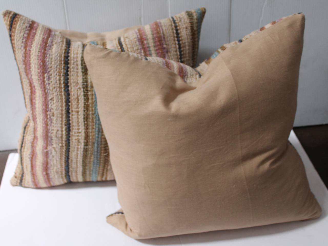 19th Century Country Rag Rug Pillows or Pair 4