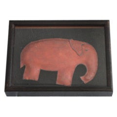 Framed Hand Made Folky Leather  Elephant