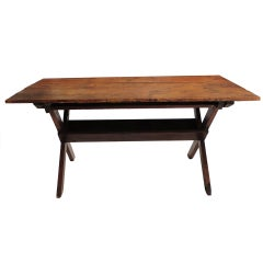Fantastic 19thc Large New England  Sawbuck Table in  Natural Old Surface