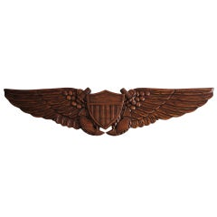 Hand Carved Patriotic Wall Plaque With Anchors & Shield and Wings