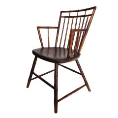 19th C. New England Birdcage Windsor Arm Chair
