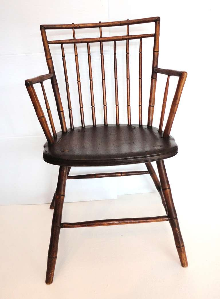 This Early 19thc New England Plank Seat Birdcage Windsor Arm Chair Is In  Great Condition And