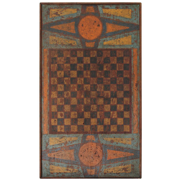 Extremely rare 19th c original painted gameboard at 1stdibs for Painting games com