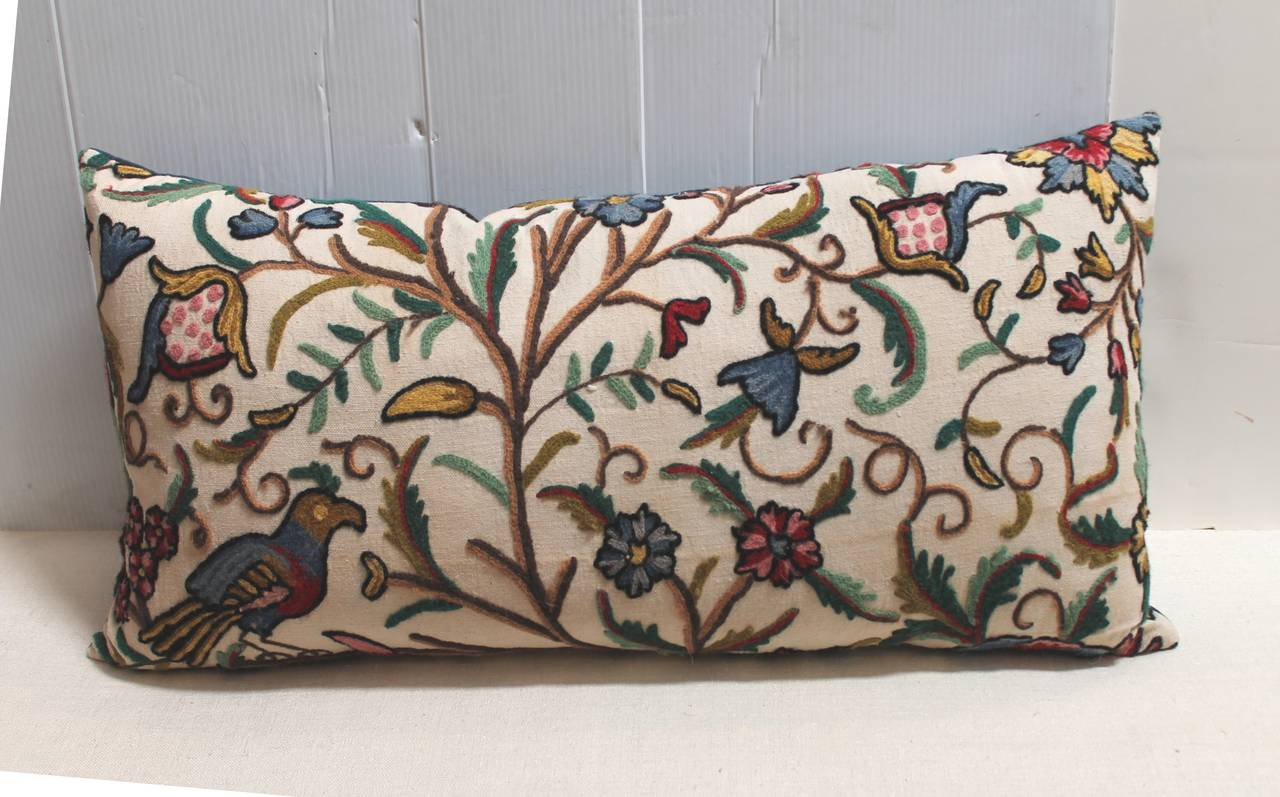 Large Decorative Bolster Pillows : Amazing Crewl Work Large Bolster Pillows at 1stdibs