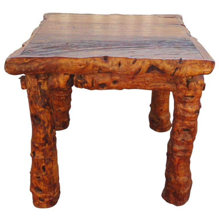 Early 19th Century Rustic Burl and Log Plank Top Table 1