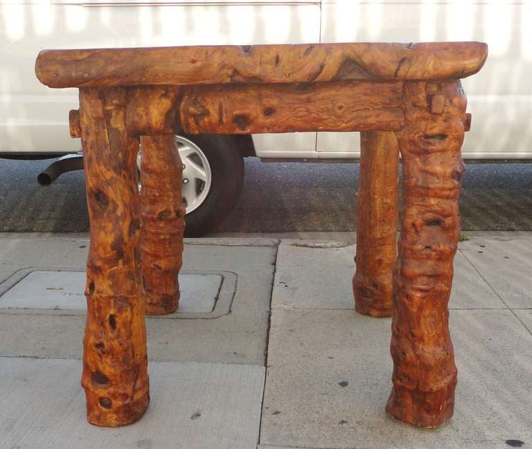 Early 19th Century Rustic Burl and Log Plank Top Table 2