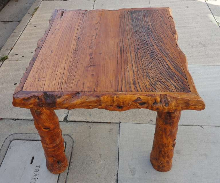 Early 19th Century Rustic Burl and Log Plank Top Table 3