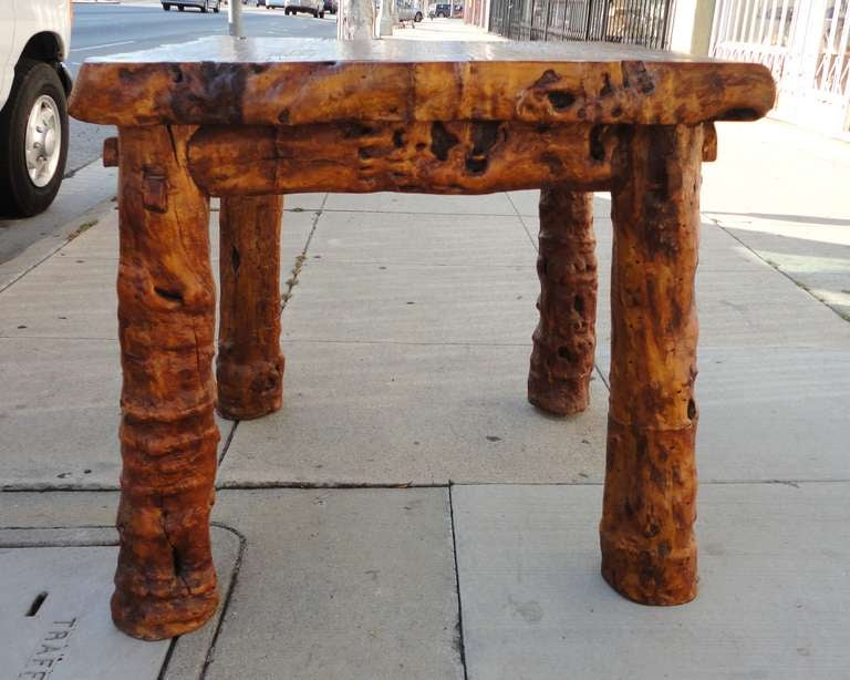 Early 19th Century Rustic Burl and Log Plank Top Table 4