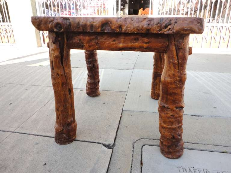 Early 19th Century Rustic Burl and Log Plank Top Table 5
