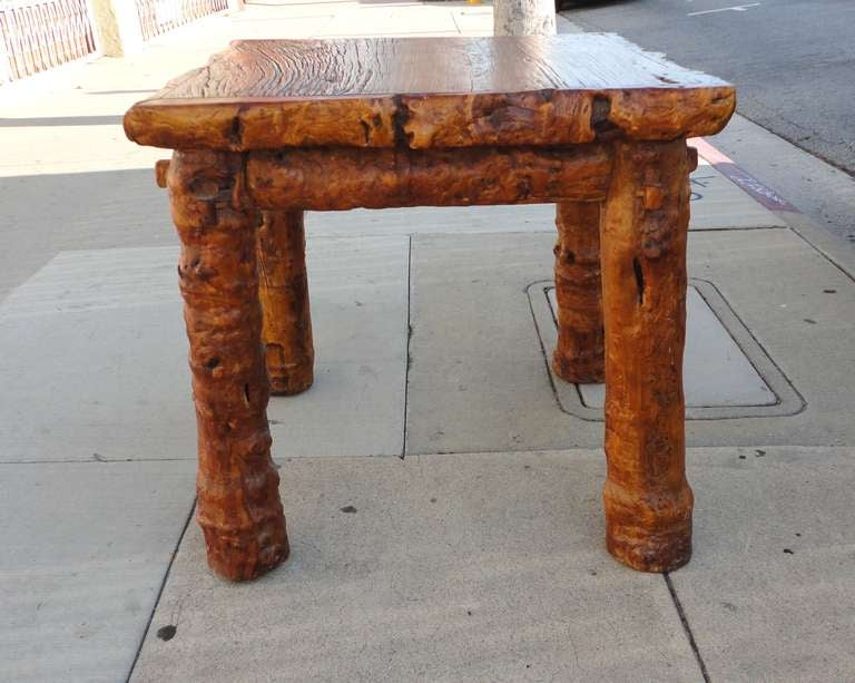 Early 19th Century Rustic Burl and Log Plank Top Table 6