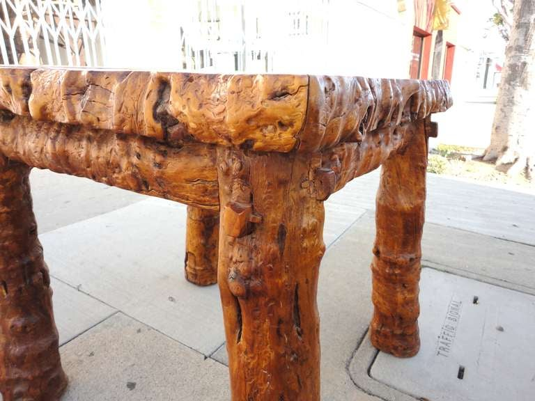 Early 19th Century Rustic Burl and Log Plank Top Table 7