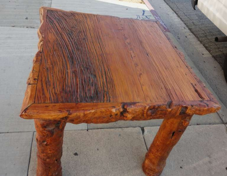 Early 19th Century Rustic Burl and Log Plank Top Table 8