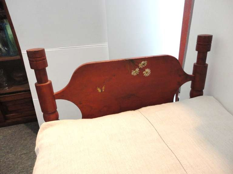 Early 19thc New England Salmon Youth Bed With Homespun Duvet Cover For Sale At 1stdibs
