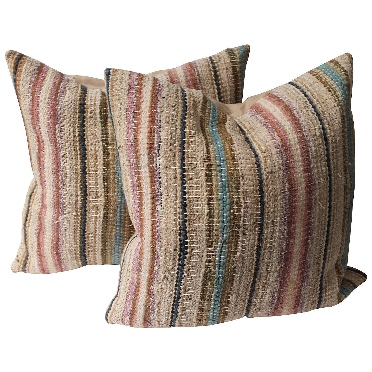 19th Century Country Rag Rug Pillows or Pair 1