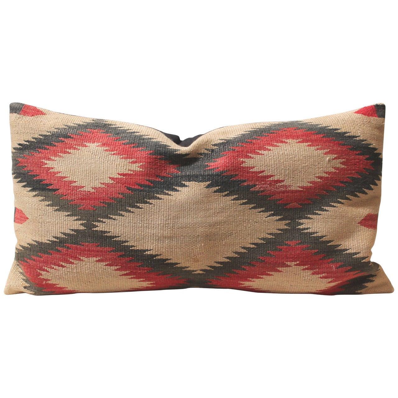 Large Early Navajo Indian Weaving Eye Dazzler Pillow