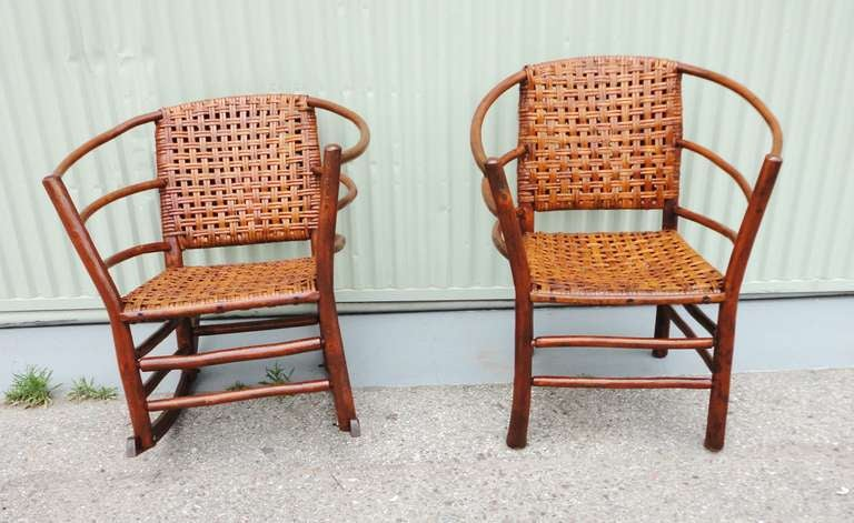 Pair Of Signed Old Hickory Barrel Back Rocker And Side Chair At - Old hickory furniture